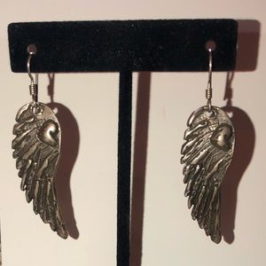 Vintage Navajo sterling silver angel wing earrings